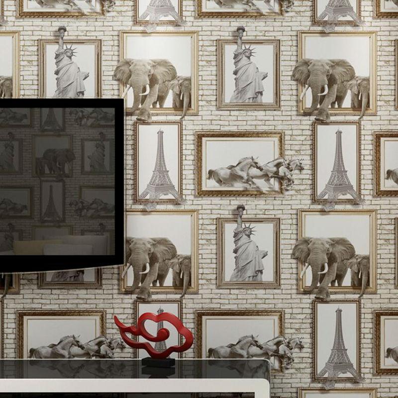 American Village 3D Dimensional Frame Elephant Eiffel Tower Brick Pattern Wallpaper Background Wall 3 dimensional miniplates
