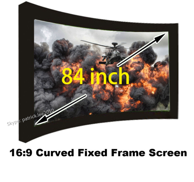 Best Price HD Projection Screen 84 inch 16:9 Ratio Curved Fixed Frame Projector Fabric Wholesale Cheap Cost low price 92 inch flat fixed projector screen diy 4 black velevt frames 16 9 format projection for cinema theater office room