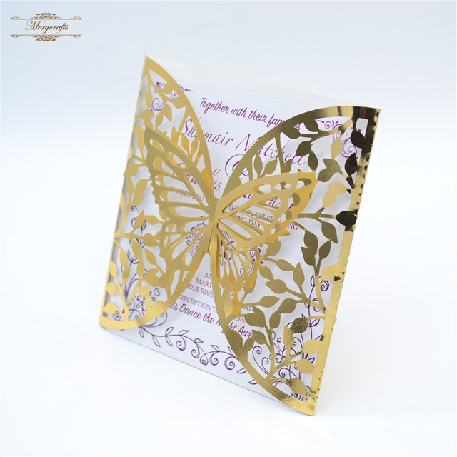 Gold glossy laser cut wedding invitations elegant butterflyin Cards