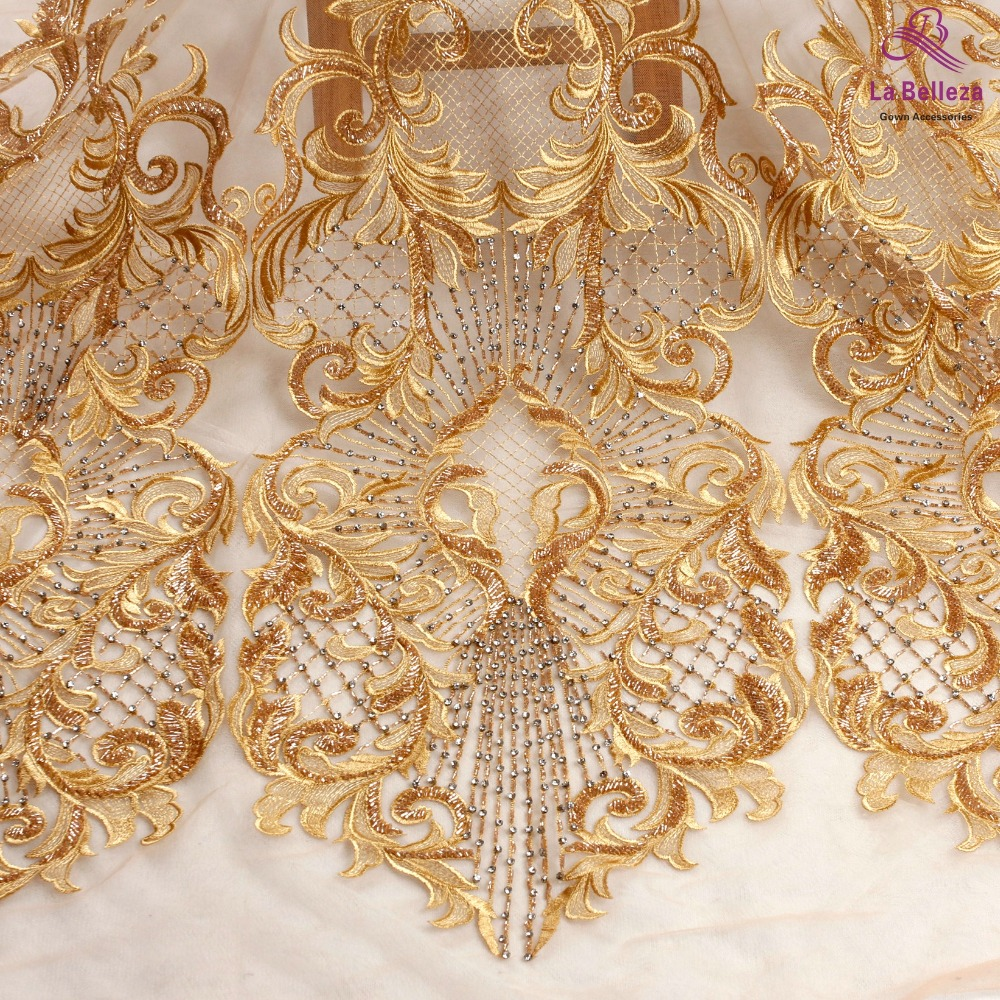 La Belleza 1 yard Gold heavy handmade beaded bridal lace fabric crystal evening gown lace fabric