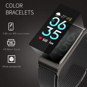 Image 4 - Intelligente wristband Del Braccialetto Impermeabile Misuratore di Pressione Sanguigna Bluetooth Oro Argento del Metallo della vigilanza Inseguitore di Fitness per le donne fidanzata