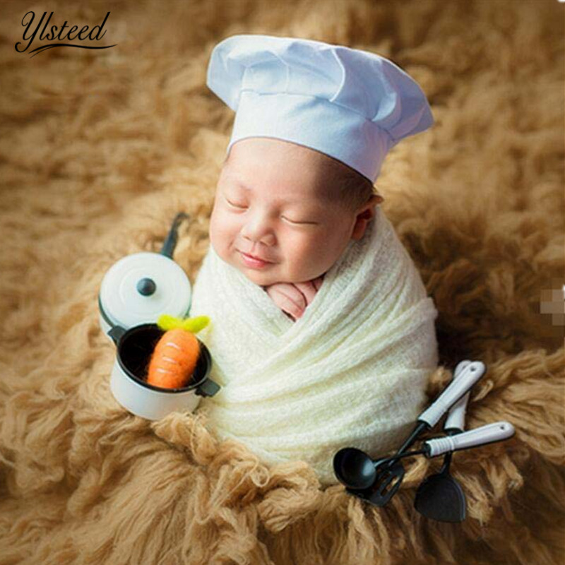 Baby Photography Props Little Chef Hat White Stretch Wrap Little Cook Hats Novelty Newborn Photography Accessories джемпер для девочки sela цвет светло серый меланж jr 614 150 6415 размер 152 12 лет