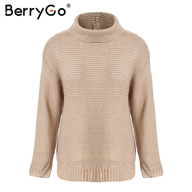BerryGo Green turtleneck knitted sweaters Women loose casual jumpers 2018  Autumn winter women pullovers warm knitwear outerwear a77956381