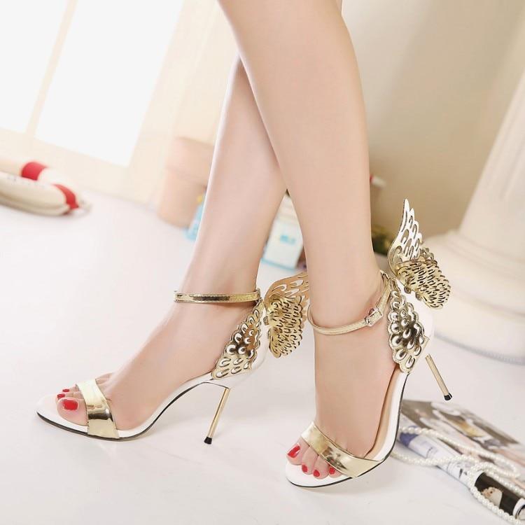 fe88d8ecb91f Sweet High Heels Women Sandals Open Toe Women Party Shoes Thin Heels  Sandals Butterfly Wings Patchwork Elegant Shoes Cover Heel