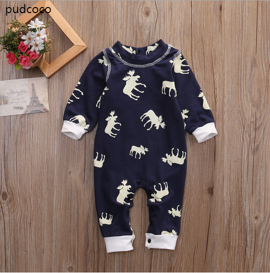 Infant Kids Baby Girl Boy Moose Rompers Long Sleeve Autumn Romper Jumpsuit Christmas Pajamas Outfits Clothes Cotton autumn winter baby girl rompers striped cute infant jumpsuit ropa long sleeve thicken cotton girl romper hat toddler clothes