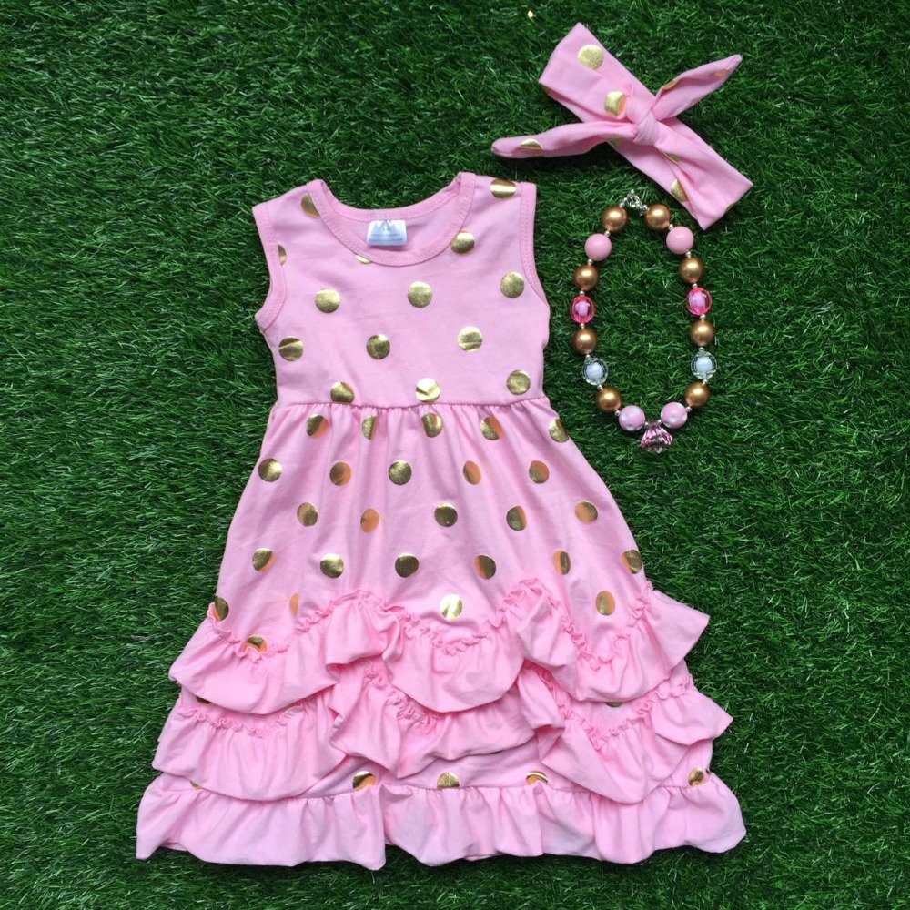 2016 new baby girls summer hot sell sleeveless dress pink gold dot kids ruffles with necklace and headband set