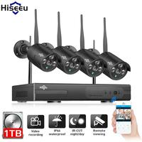 4CH 1080P Wireless NVR Kit 1TB HDD Wifi CCTV System 4PCS 1080P IP Camera Black IR Outdoor Waterproof 2.0MP Security Surveillance