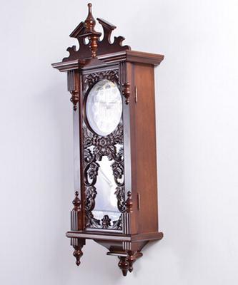 European carved wood crafts creative retro luxury quartz watch high-grade green vintage brown living room bedroom wall clock
