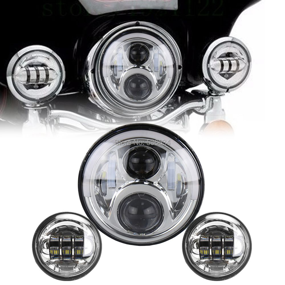 7Inch LED Round Projector Daymaker Headlight Hi/Low Halo Matching 4.5Inch LED Passing Lamps For Harley Davidson Heritage Softail