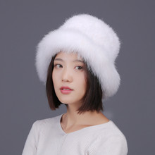 winter fur hats for women natural mink caps autumn knit warm beanies white gray black real fox trimmed H127
