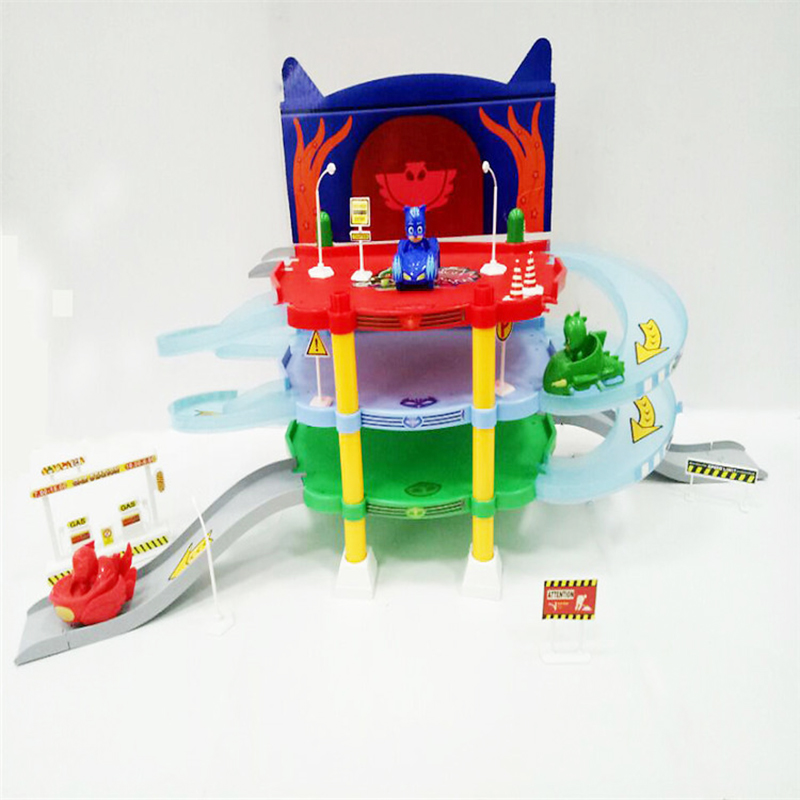 Birthday Gift masks Cartoon Masked Command Center 3 Car Parking Car Characters Catboy Owlette Gekko Masked Figure Toys pj cartoon pj masks command center car parking toy lot car characters catboy owlette gekko masked figure toys kids party gift