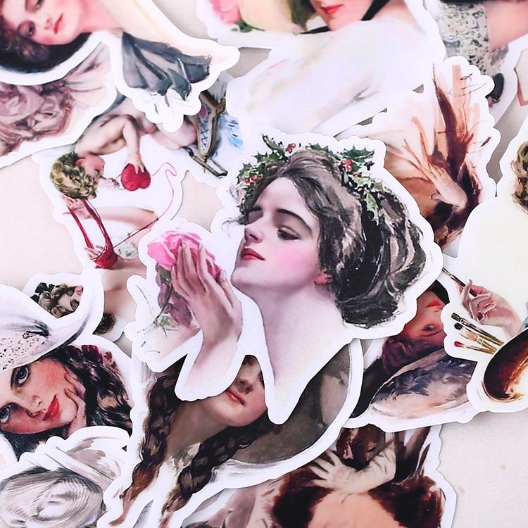 52pcs/ pack Creative Cute Self-made Pretty lady Scrapbooking Stickers /Decorative Sticker /DIY Craft Photo Albums 40pcs pack creative kawaii self made hello kitty scrapbooking stickers decorative sticker diy craft photo album