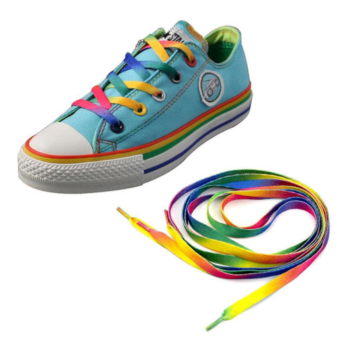 4PC Rainbow Flat Canvas Athletic Shoelace Sport Sneaker Shoe Laces Boots Strings
