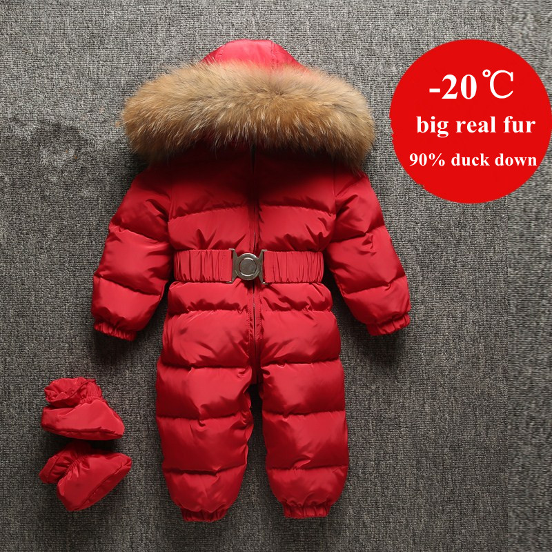 Newborn Baby Clothes Enfant Duck Down Romper Infant Overalls Fur Collar Boys Girls Snowsuit Children Snow Wear Jumpsuit infant snowsuit new toddler boys girls winter suits thermal down jacket thickening jumpsuit fur collar baby snow wear