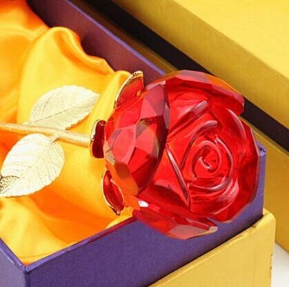 Livraison gratuite + belle fleur de cristal rose de haute qualité pour la saint-valentin/fête des mères/faveur de mariage