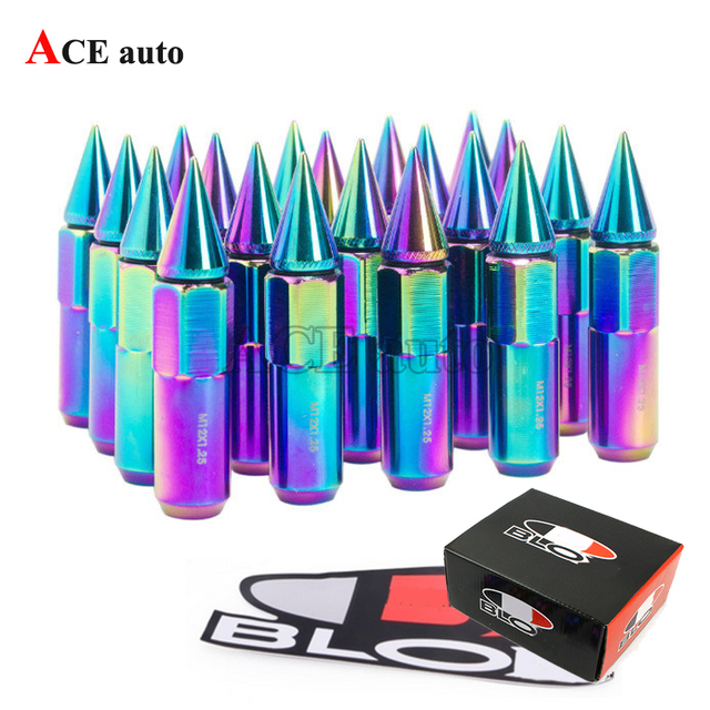 ACE- 20PC for Blox JDM Style Aluminum Extended Tuner Wheel Lug Nuts With Spike FOR WHEELS/RIMS M12X1.25 Color Neochrome