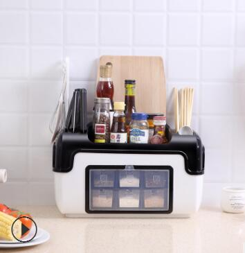 Kitchen Food Storage Rack Seasoning Box Can Bottle Set Combination Knife Holder bestlead 4 ceramics knife 6 5 kitchen knife peeler board holder set white deep blue