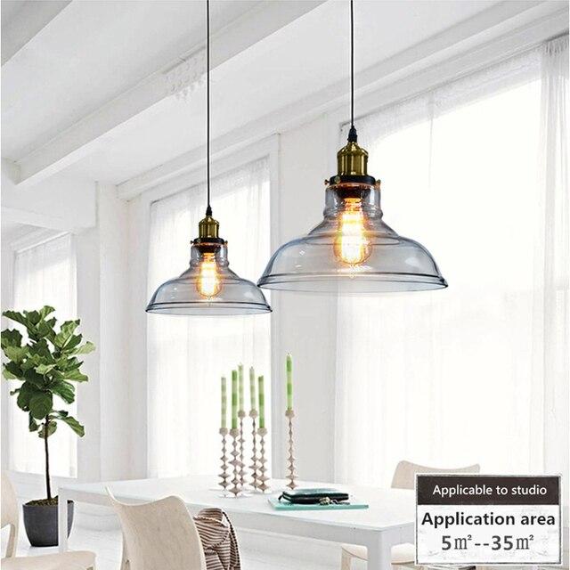 Vintage Pendentif Lumi¨res Verre Abajur Suspension Luminaire Loft