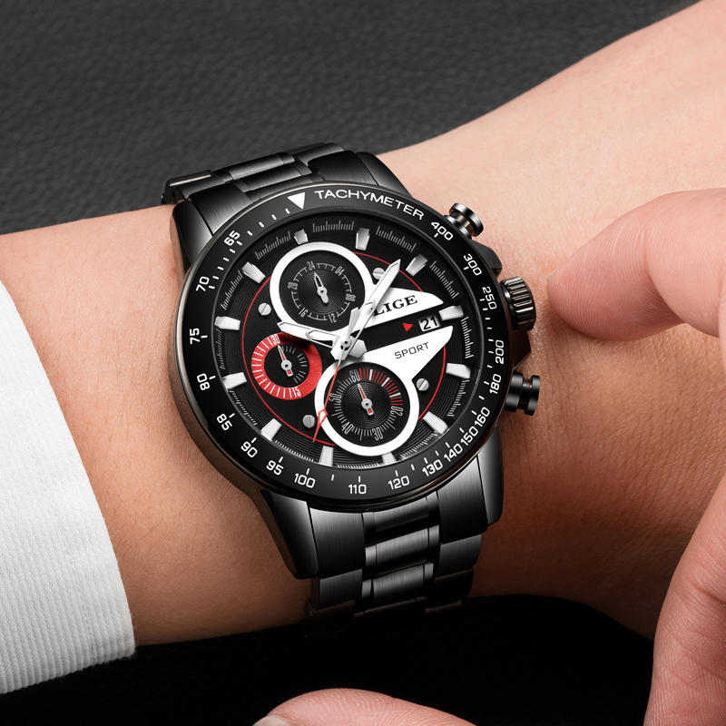 20202d482ed LIGE Mens Watches Top Brand Luxury Fashion Business Quartz Watch Men Sport  Full Steel Waterproof Black Clock relogio masculino-in Quartz Watches from  ...