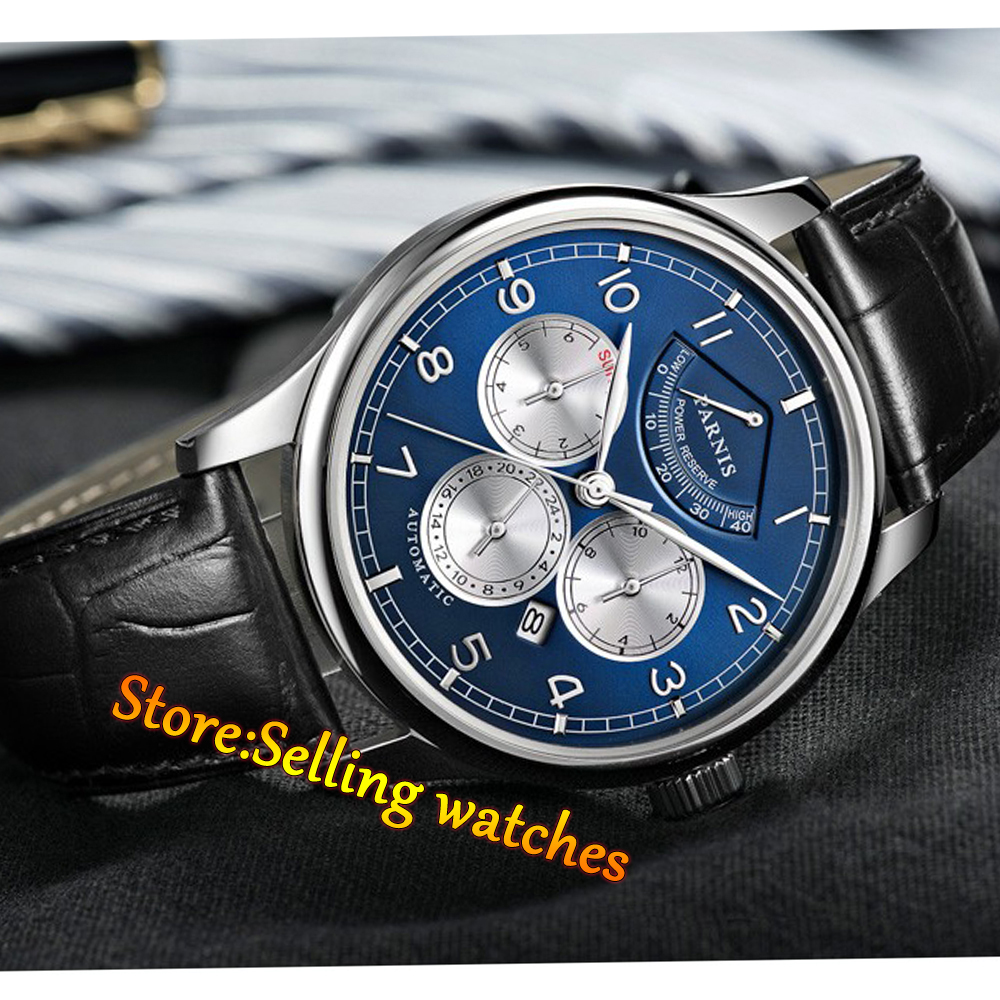 43mm Parnis Blue Dial Sapphire Crystal Automatic Sapphire Men's Watch все цены