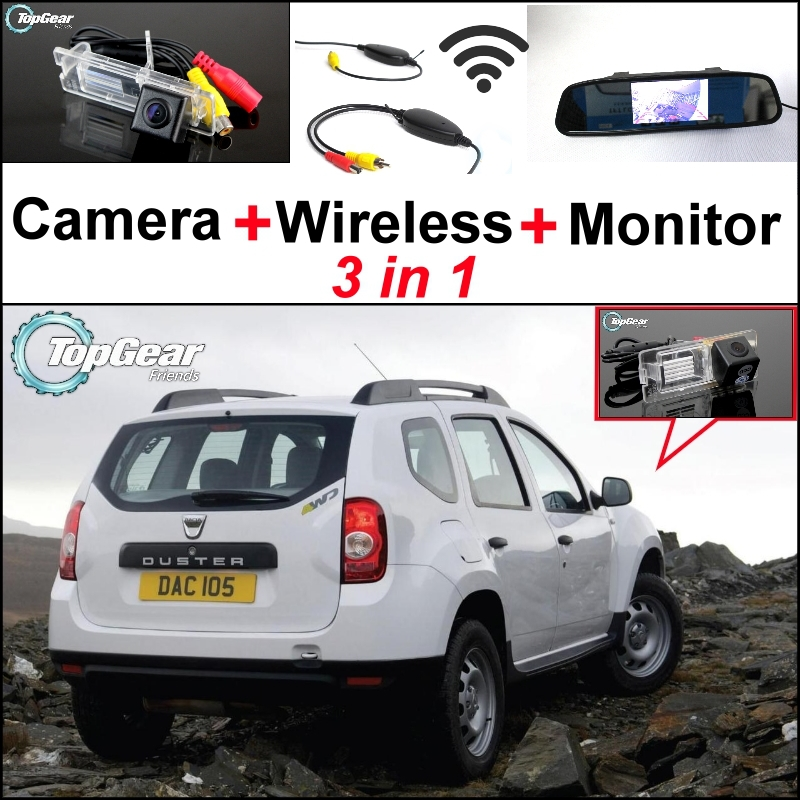 3 in1 Special Camera + Wireless Receiver + Mirror Monitor EASY DIY Back Up Parking System For Renault Duster 2010~2014 for renault duster dacia duster in car 4 3 color lcd monitor car rear back up camera 2 in 1 park parking system