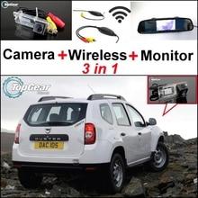 3 in1 Özel Kamera + Kablosuz Alıcı + Ayna Monitör KOLAY DIY Renault Duster Için Back Up Park Sistemi 2010 ~ 2014