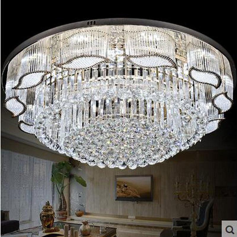 Modern Crystal LED Art Deco Round Ceiling Lamp Leaf Shape