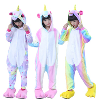 Animal Cosplay Oneise Children Kids Flannel Anime Cartoon Costumes Sleepwear Cosplay Winter Warm Onesie Kigurumi Unicorn