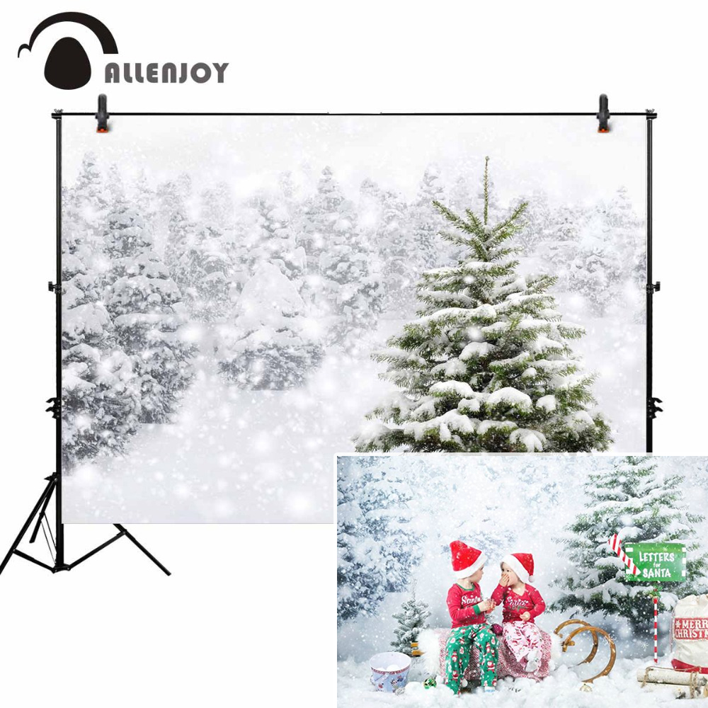 Allenjoy photography background white winter bokeh Christmas tree snow backdrop scenery photocall prop customize original design allenjoy photography backdrop snow winter house christmas tree party children new background photocall customize photo printed
