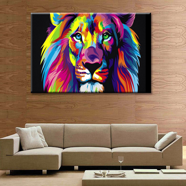 Abstract lion poster Wall Art Oil Painting On Canvas Printed Painting Pictures Decor painting large living room Wholesale in Painting Calligraphy from Home Garden