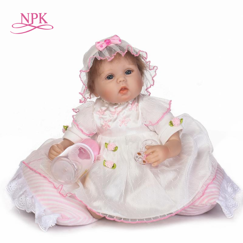 NPK 43 cm Silicone bébé reborn poupées, poupée réaliste reborn bébés jouets pour fille rose princesse cadeau brinquedos pour enfants
