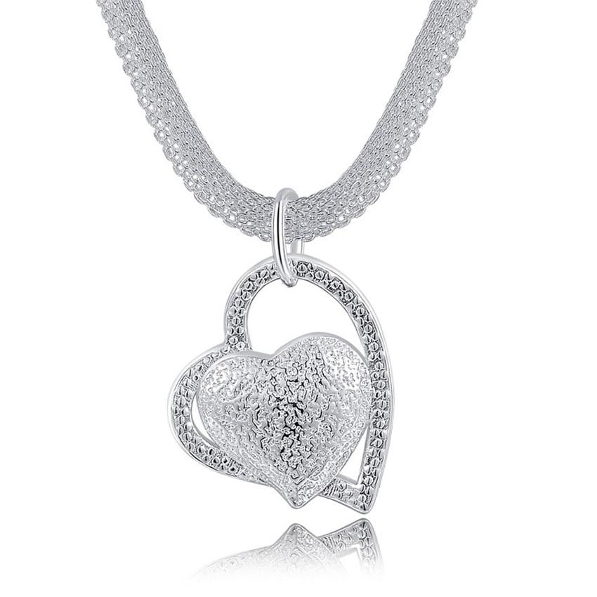 N270 Livraison gratuite Populaire Belle mode Élégant argent couleur charme Maille chaîne rétro COEUR jolie Dame Collier bijoux