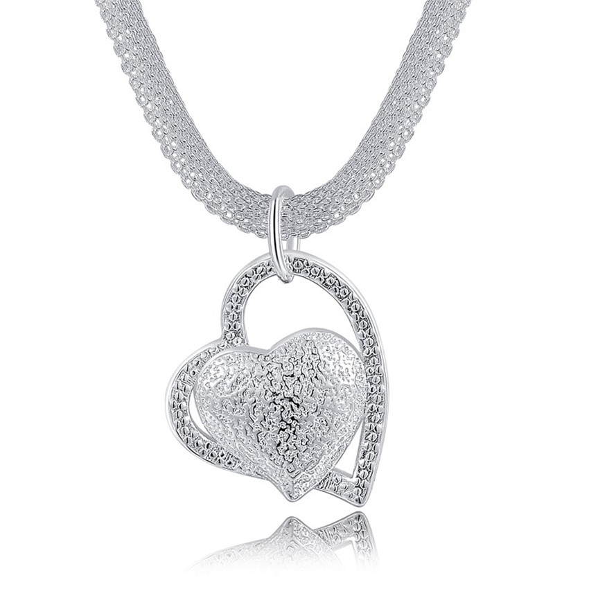 N270 Free shipping Popular Beautiful fashion Elegant silver plated charm Mesh chain retro HEART pretty Lady Necklace jewelry