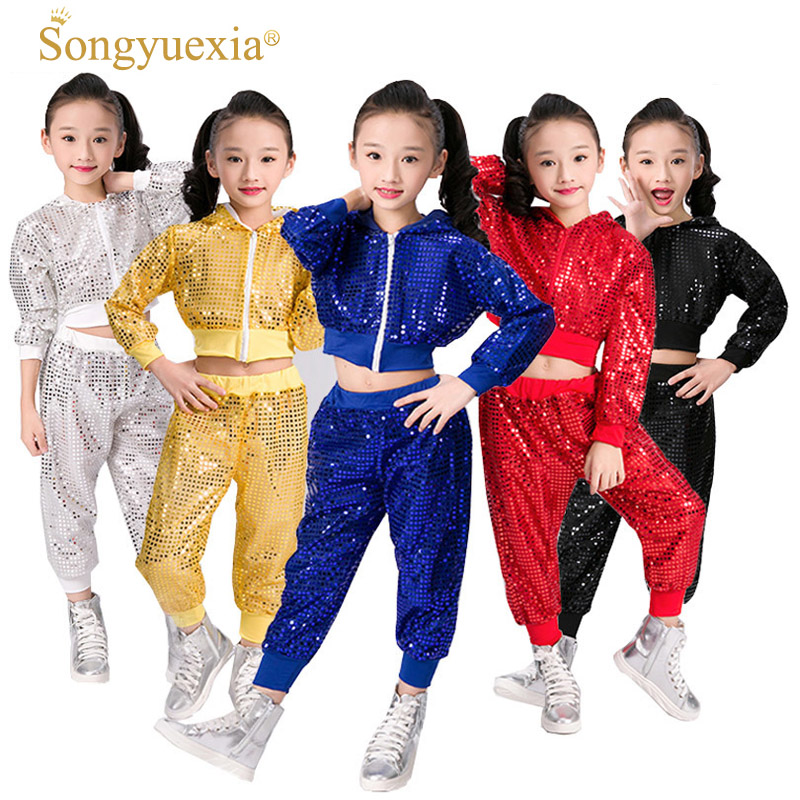 Songyuexia Dance Costume For Children Jazz Clothes Sequined Jazz Wear Hip-hop Dance Stage Performance Clothing 110-160cm