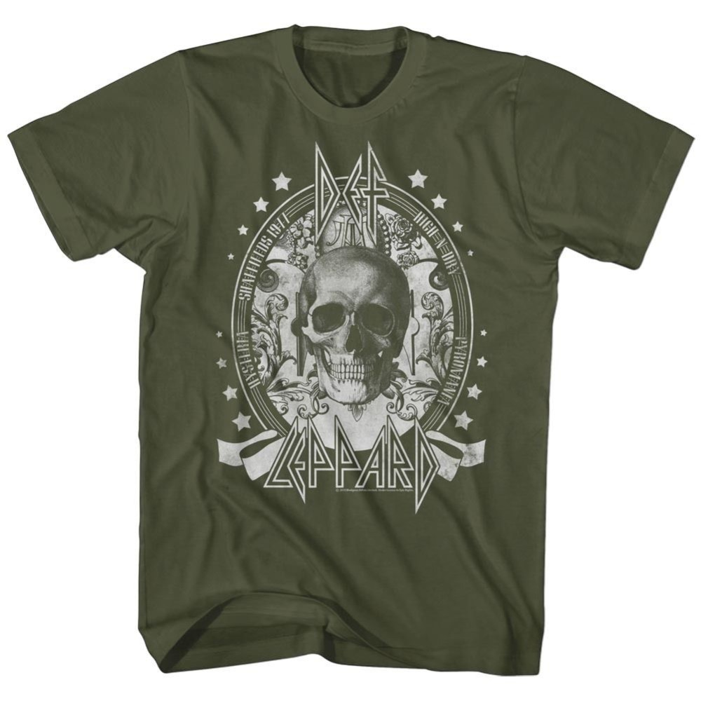 -Shirts Sizes Sizes S-2XL New Authentic Mens Def Leppard Skull Tee Shirt
