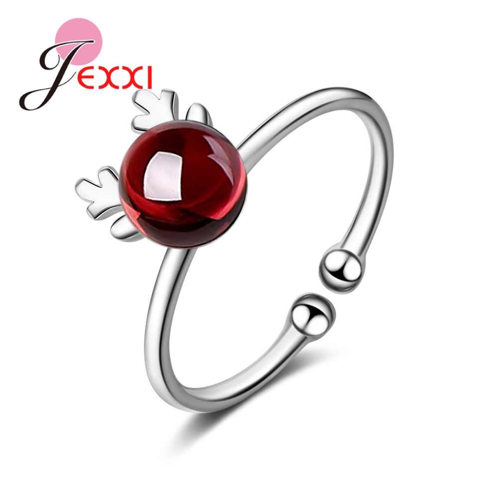 Women 925 Sterling Silver  Korean Antler Metal Knuckle Open Rings Gift Crystal Jewelry Wedding Party Adjustable Finger Ring
