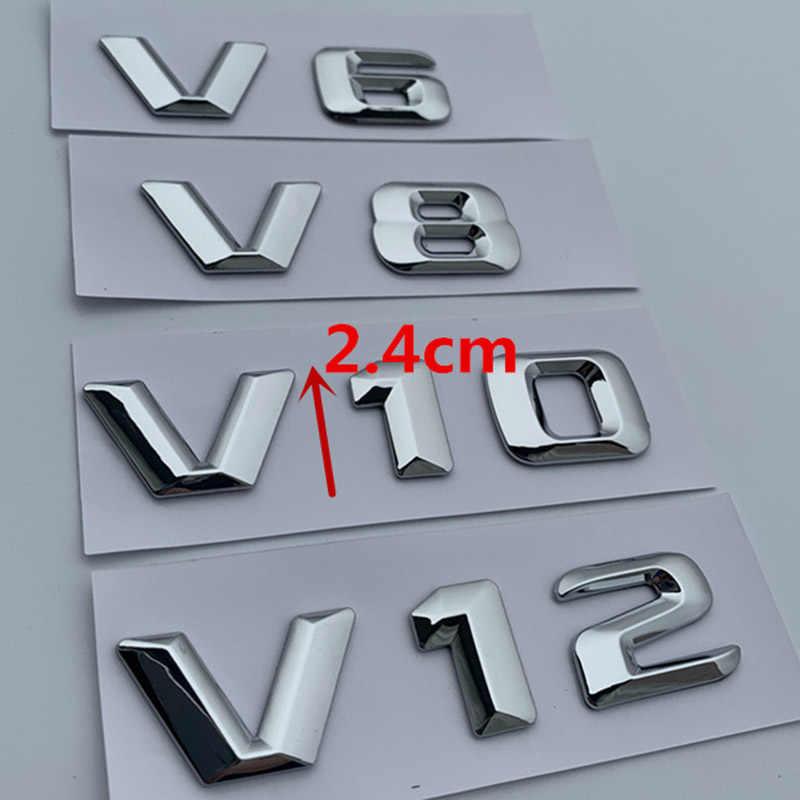 V6 V8 V10 V12 Mektup Numarası Amblem Krom Logo Araba Styling Çamurluk Yan Deşarj Kapasitesi Badge Sticker için Benz C200 e300