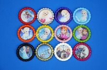 Xmas Gift ! 100Pcs 1'' Colored Flattened Bottle Cap Queen Anna Elsa Cartoon Bottle Caps For DIY necklace pendant Hair bows
