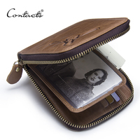 CONTACT S Luxury 100 Genuine Leather Wallet Fashion Short Bifold Multi Functional Men Zipper Wallet With