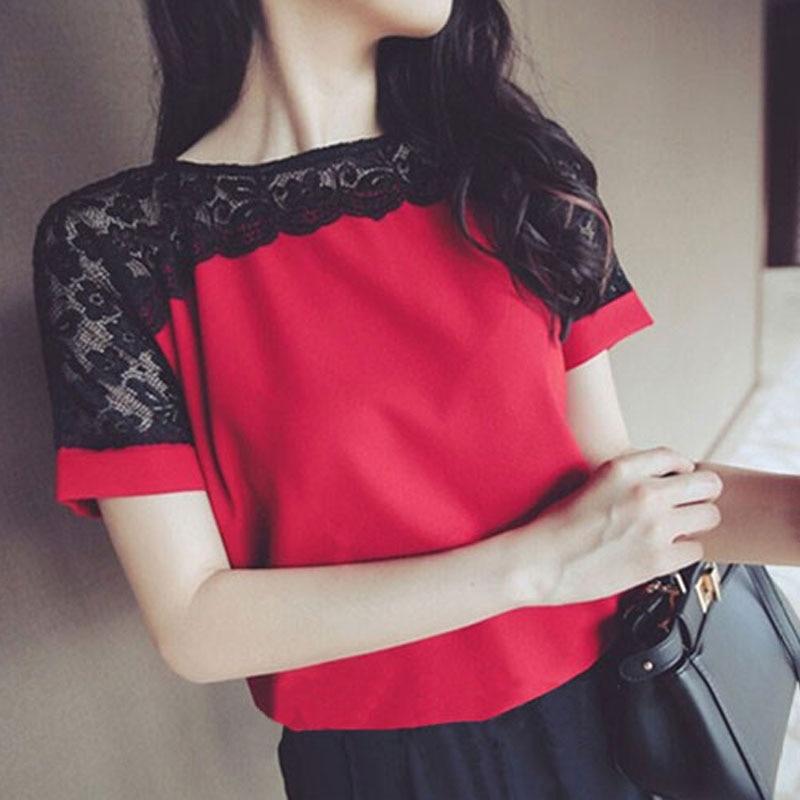 Women Blouses Lace Chiffon Blouse Blusa Feminina Tops Short Sleeve Fashion Chemise Femme Woman Shirts Plus Size 5XL/6XL Red