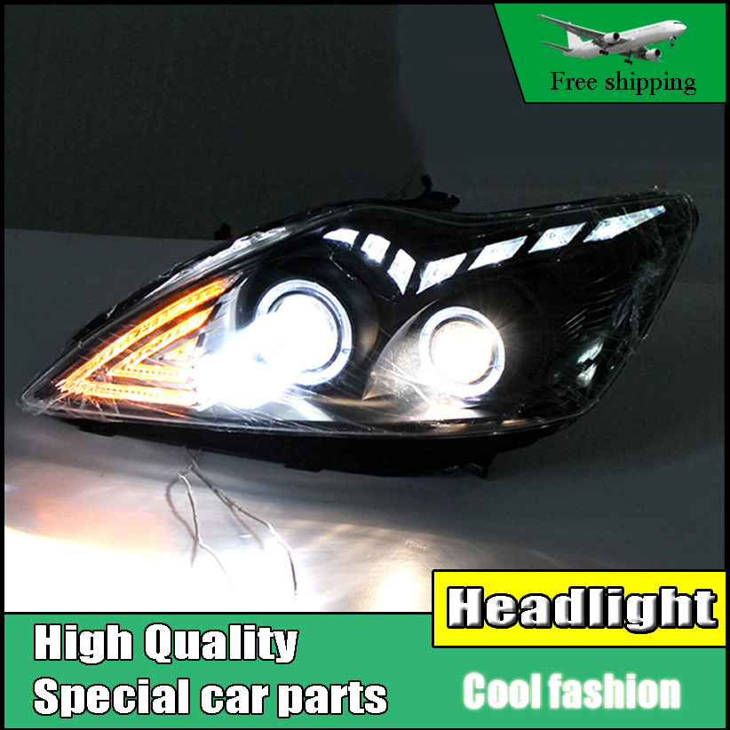 Car Styling Head Lamp For Ford Focus MK2 Headlights 2009-2013 LED Headlight DRL Bi Xenon Lens High Low Beam O Angel Eyes DRL ownsun new style tear drop led projector lens headlight for new ford focus 2012 2013