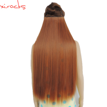 5 Pieces Xi.rocks Synthetic Clip in Hair Extension 28 inches Length Straight Hairpiece 5 Hair Clips Matte Copper Color 30J