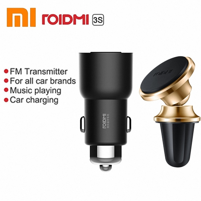 Original Xiaomi Roidmi 3S bluetooth car charger 5V/3.4A  Music Player Smart APP FM + Roidmi Magnetic Car holder for smart phone