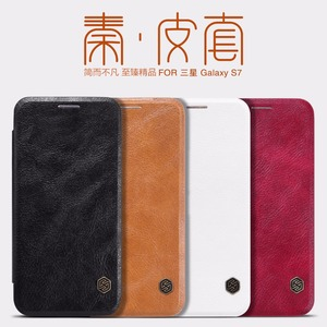 Original Nillkin Qin Series Cell Phone Leather Cases for Samsung Galaxy S7 Luxury Flip Case with Smart Windows View Cover Case
