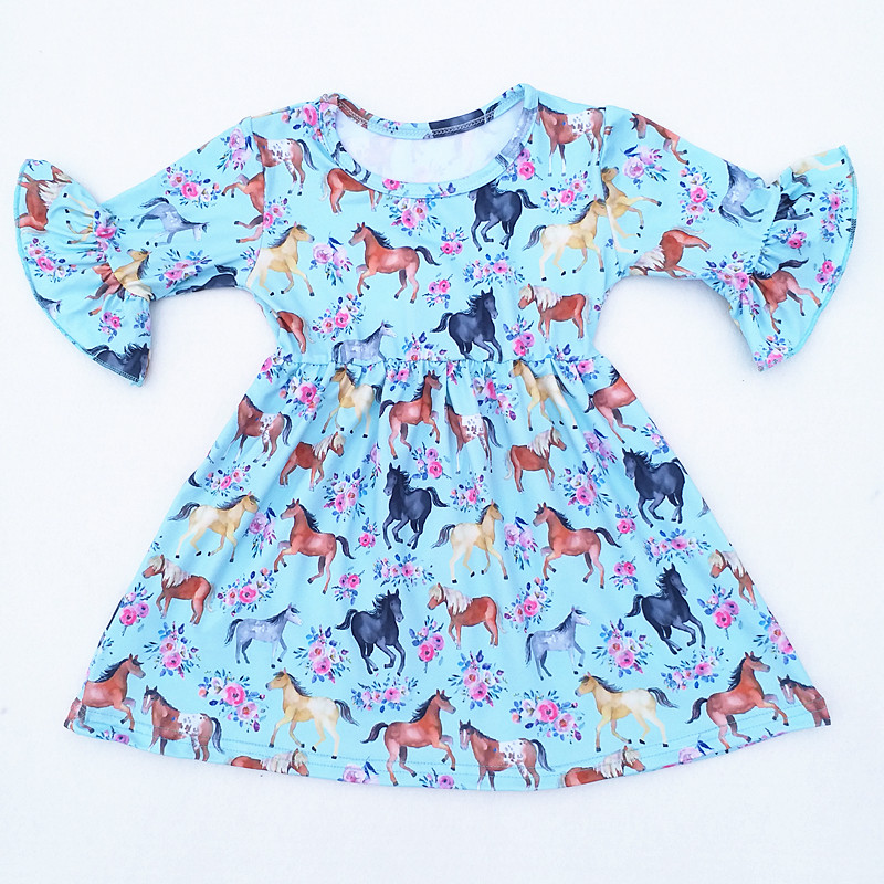 Baby Girls Summer Floral Horse Printed Dress Children Milk Silk Flare Sleeve Clothing Kids Boutique Summer Dresses 12M to 7T Ava цена 2017