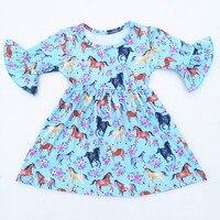 Baby Girls Summer Floral Horse Printed Dress Children Milk Silk Flare Sleeve Clothing Kids Boutique Summer