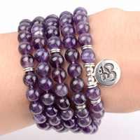 108 pcs Mala Beads Pulseiras Pedra Natural Ametistas OM Lótus Buddha Charme Pulseiras Para As Mulheres Yoga Jóias Dropshipping