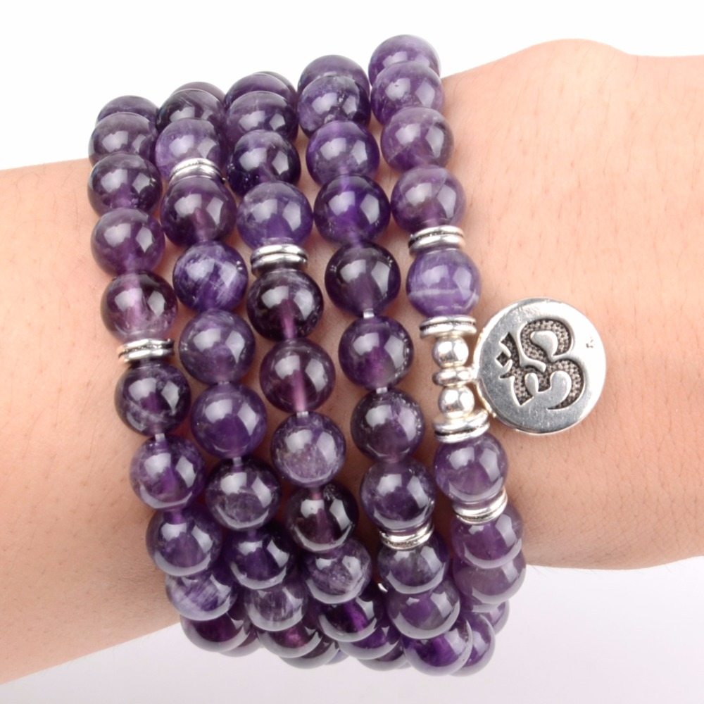 108pcs Mala Beads Bracelets Natural Stone Amethysts Om Lotus Buddha Charm Bracelets For Women Yoga Jewelry Dropshipping
