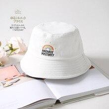 Printed Rainbow Bucket Hat Women Fisherman Caps Panama Cotton Layer Fabric Sun Hats Casual Men Fashion Flat