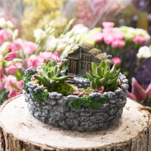 Fairy Garden Miniature Log Cottage in Rock Fence Flower Pot Cottage Sculpture Planter Grey
